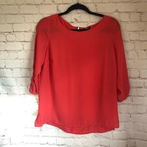 💐5/$25!💐APT. 9 deep coral sheer 3/4 blouse small